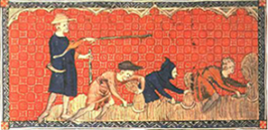 Peasants cutting corn with a sickle